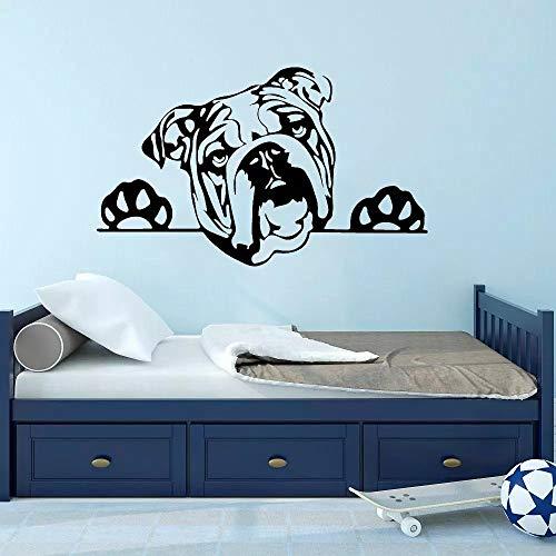 WERWN Creativo Bulldog Panel Perro Etiqueta de la Pared Arte Vinilo Etiqueta de la Pared Decoración Sala de Estar