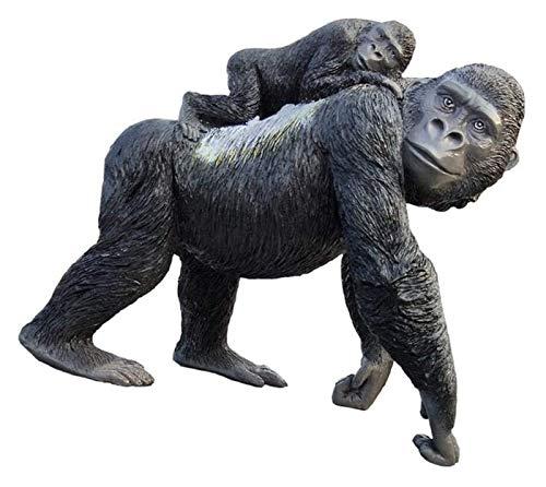 WQQLQX Statue Vater und Sohn AFFE Harz Skulptur Schwarz Tier Liebe Statue Handgemachte Handwerk Ornamente Figuren Geschenke Sammlerstücke Dekoration Zubehör Skulpturen