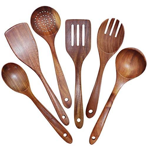 TWDYC Utensilios de Madera Conjunto de 6, Utensilios de Cocina de Cocina Grande para Utensilios de Cocina antiadherentes, cucharas de Madera de Teca Natural espátula colador de cucharón