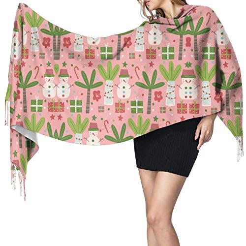 Bufanda de cachemir con flecos de Navidad muñeco de nieve rosa verde blanco señoras invierno bufanda extra grande