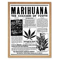 Advertising Drug Awareness Warning Marijuana Weed Cannabis Panic USA Art Print Framed Poster Wall Decor 12X16 Inch 広告戦争アメリカ合衆国ポスター壁デコ