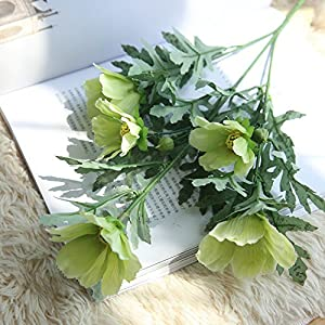 Fine Cosmos Artificial Flower Fake Flower Artificial Silk Fake Daisy Chrysanthemum Flowers Leaf Floral Wedding Home Decor (Green)