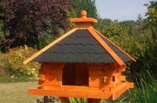 XXL Futterhaus Vogelhaus mit Bitumenschindeln versch. Dachfarben wahlweise mit oder ohne Vogelhausständer V20, Variante:V20 bitum dunkel XXL