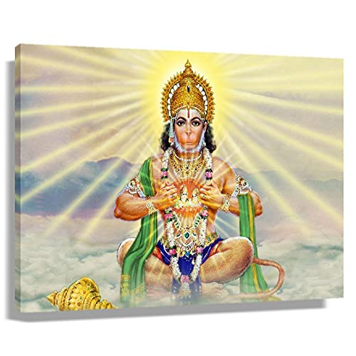 Hanuman Hindu Mythology Poster Pictures for Living Room Giclee Wall Art for Women Horizontal Canvas Print Bathroom Decorative Paintings for Bedroom Canvas Modern Home Office Wall Hanging Decorations (45x30cm(18x12inch),Framed)