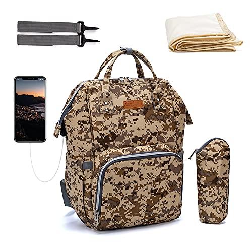 QINGCHU Mochila para pañales de bebé, multifuncional, impermeable, para mamá y papá, mochila para pañales Oxford con puerto de carga USB, correas para cochecito, bolsa de calor y bolsa de viaje, c, 56