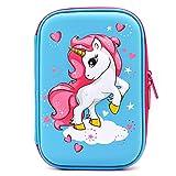 Astuccio rigido con unicorno volante goffrato – grande scatola per la scuola con scomparti – borsa per cancelleria per bambini e bambine Light Blue
