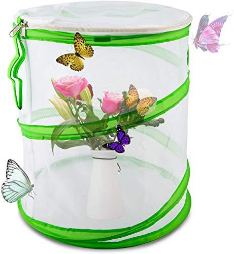 Mo&Ny Insekten- und Schmetterlingslebensraumkäfig Pop-up-Design Zusammenklappbarer Insekten-Netzkäfig für den naturwissenschaftlichen Unterricht 12 × 14 Zoll,Weiß