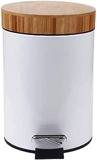 Lzttyee Cretive Bamboo Mini Desktop Swing-Top Trash Can Waste Bin Modern Countertop Removable Wastebasket Black