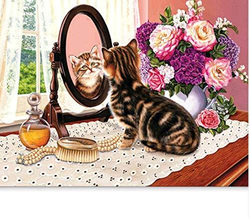 Yycsqy DIY 3D-schilderij, diamantschilderset, accessoireset, wanddecoratie, handwerk voor thuis, spiegels, kat, kruissteek, mozaïek, huis, 50 x 40 cm