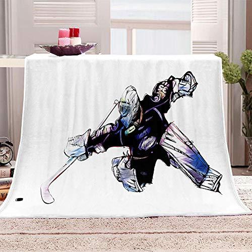 JKRFV Fleecedecke Eishockey Decken Sofa Decken Flauschige Wohndecke Schlafdecke 130x150cm