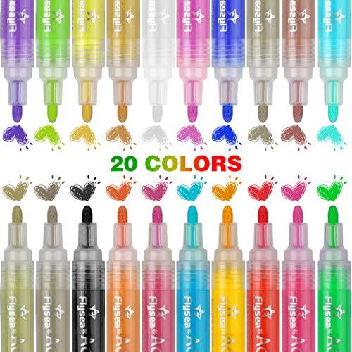 Nomisty Acrylstifte Marker Stifte, 20 Farben Wasserfeste Stifte,Premium Paint Marker Schnelltrocknend,Acrylic Painter für Stein,Garten, Papier, Metall, Stoffmalerei, Fotoalbum und DIY Handwerk