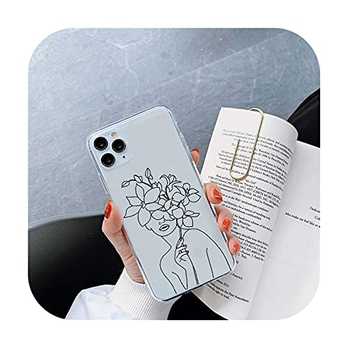 Resumen línea humana flor de silicona teléfono caso para iphone 12 Mini 11 12 Pro Max XR 8 7 6 Plus X XSMAX Clear HD suave cubierta - para iPhone 11 promax