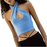Top corto sin mangas de cuello redondo, abierto frente corbata Tops de las mujeres sólido básico de punto camisola irregular dobladillo superior camiseta