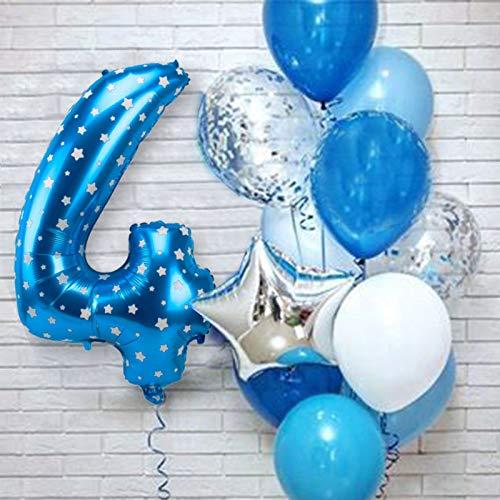 XIAOYAN Globos 12 unids Número Azul Foil Latex Balloons Fiesta de cumpleaños Decoración de la Fiesta Niños Bebé Bebé Príncipe 1 2 3 4 5 6 7 7 8 9 años 1er cumpleaños ( Color : Blue 4th )