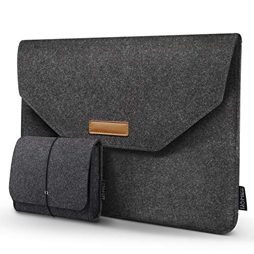 Laptop Sleeve, HOMIEE 15-15.4 inch Laptop Bag with Extra Storage Case and Mouse Pad for MacBook Pro Dell/Lenovo/HP/Chromebook, 15.4 Inch Felt Sleeve Notebook Laptop Case Protector Bag (Dark Gray)