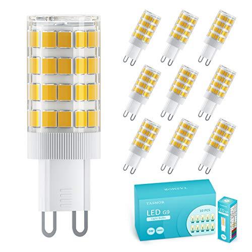 TASMOR Bombilla LED G9 5W, 51 Leds Equivalente 50W Lampara Halógena, 3000K Blanco Cálido, 550LM Suficiente Brillante, Sin Estroboscópico, 360° de Haz Omnidirectional, Iluminación Hogar(10Pcs)