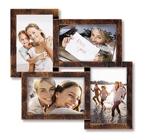 Eurographics Multiframe - 4 Copper Collage-Bilderrahmen, Holz, braun, 36 x 36 x 2.6 cm