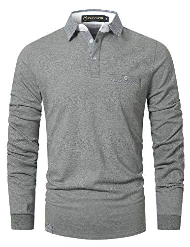 GHYUGR Poloshirt Herren Langarm Golf T-Shirt Klassische Karierte Spleiß Polohemd S-2XL,Grau 1,L