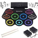 UPANV Elektronisches Drum-Kit, Tragbares Roll-Up-Drum-Set 9 Empfindliche Drum-Pads Mit Bluetooth, MIDI, Eingebautem Lautsprecher Und Wiederaufladbarem Akku,Color