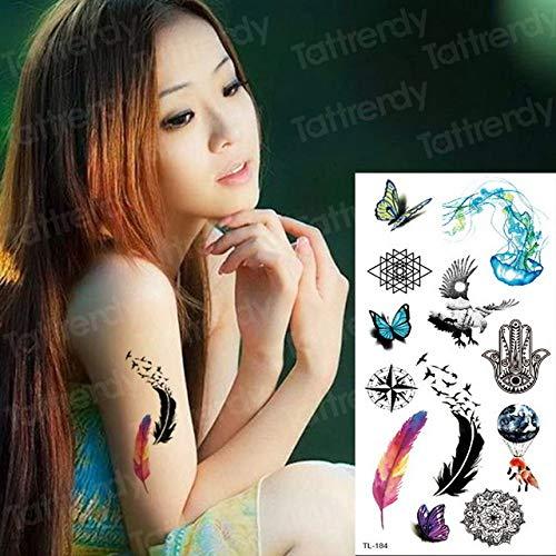 Handaxian 3pcsTattoo Sticker Blume Tattoo weibliche einzigartige Blume Tattoo Sticker Aufkleber weibliche Körperkunst Vogelkäfig Tattoo