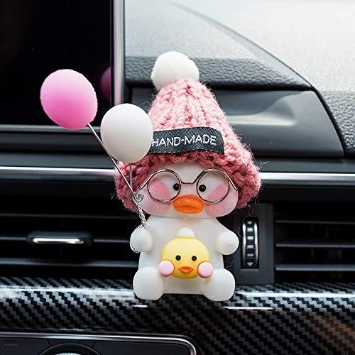 RAP Car Interior Outlet Aromatheie-Clip Auto Creative Car Parfum airconditioning Cartoon Decoratie leuke decoratie Vrolijk zitten Net rode eend [Roze muts + gele eend] Roze Witte ballon