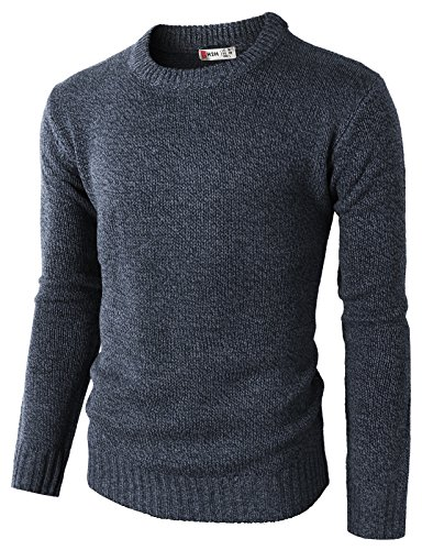 H2H Mens Ribbed Wool Blend Pullover Shawl Collar Knitted Sweaters Navy US L/Asia XL (KMOSWL0122)