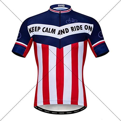 Maglia Ciclismo Uomo,La Zip Completa Assorbente Traspirante Quick Dry Abbigliamento Racing Mtb Bike Estate 3D Blue Team Nazionale Stampa Usura Mens Shirt Tops Per Sport All'Aperto Noleggio Mountain B