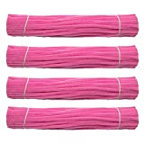 Waycreat 400 Pieces Pipe Cleaners Pink Chenille Stem for DIY Art Craft Decorations (6mm x 12 Inch)