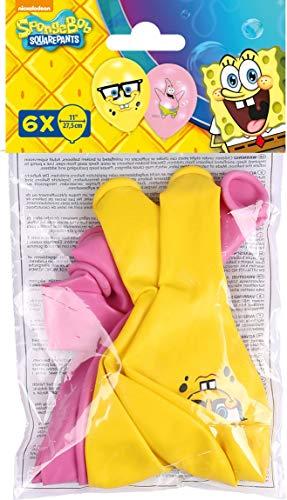 amscan 999223 6 Latexballons Spongebob, Pink/Gelb