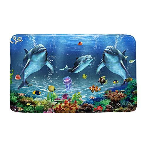 Jingjiji Dolphin Bath Mat Marine Life Cartoon Ocean Animal Seabed Landscape Tropical Fish Bathroom Decoration Indoor Carpet Bathtub Carpet with Non-Slip Lining 20 x 31 Inch Blue