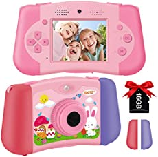 GKTZ Kids Camera Digital Video Camcorder Dual Lens Selfie Cameras 1080P 12M HD Recorder 2.4 inch Puzzle Game Console Music Player Toy Gifts for Boys and Girls Age 3-12,Included 16GB Memory Card (Pink)