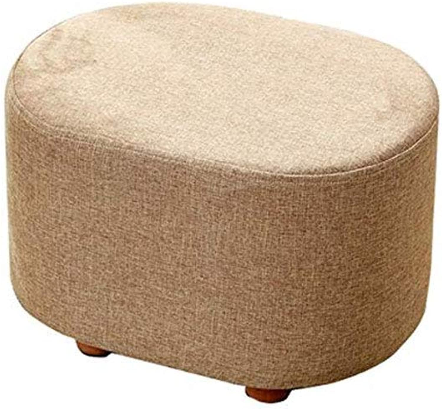 Footstool, Home Padded Wooden Stool, Padded Footstool Round Chair Dustproof Makeup Pad Washable Linen Chair (color   Khaki)