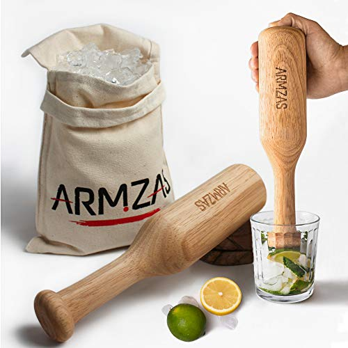 Professional Lewis Bag and Ice Mallet, 2 Pc. Set, Muddler Bar Tool Armzas, Wood Cocktail Muddler and Crusher, Professional Bar and Kitchen Accessories, Manual Crushing and Blending (1.Beige)