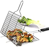 BBQ tools set, easy and safe to use, put the foods between the nets, close and food is ready to grill, It also can be used with multiple gas grill, charcoal grill or other types. Design - Fordable Basket Roast and Wooden Holder. Extended heat-resista...