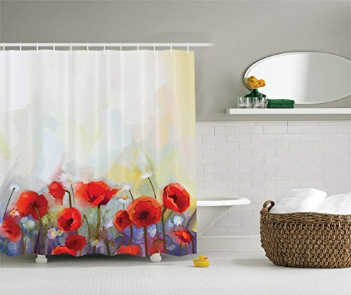 Ambesonne Watercolor Flower Decor Collection, Poppies Blossoms Meadow Wildflower Spring Season Painting, Polyester Fabric Bathroom Shower Curtain Set with Hooks, 75 Inches Long, Red Ivory Orange