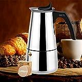 EEX Cafetera Italiana, Cafetera Moka Espressos en Acero Inoxidable 430, Conveniente para la Estufas de Gas,Cafetera Moka Clásica, Uso Doméstico y en la Oficina (Nota:1 Taza es 50ml)