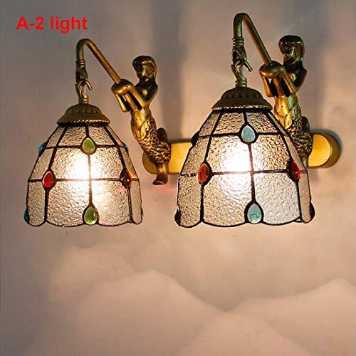 Tiffany stijl wandlamp, Stained Glass wandkandelaar, E27, Vintage Spiegel van de Badkamers Front Light Inrichting voor Gang Woonkamer Slaapkamer Reading Licht van de Muur (No Bulb),A,2light
