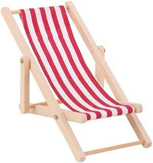 76bdb1fcf 01:12 plegable silla de playa de madera rayada Mini Hamaca Césped miniatura  para 1pc