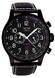 Davis –0452- Reloj Negro Aviador 48mm – Cronógrafo Sumergible 50M – Cuadrante Negro – Correa de Piel Negra con Pespunte