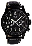Davis - Herren Fliegeruhr Chronograph Wasserdicht 50M Datum Lederarmband (Schwarz Gehäuse/Lederarmband Schwarz)