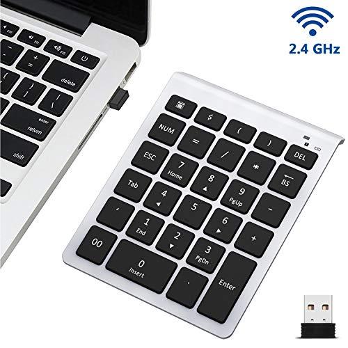 Wireless Number Pad, Lekvey Numeric Keypad : 28 Keys Multi-Function Numpad Keyboard with 2.4G Mini USB Receiver for Laptop Desktop PC Computer Notebook, Surface pro, Windows etc - Silver