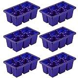 Angoily Bandeja Espátula Bandeja de Inicio de Plántulas 6 Celdas Kit de Germinación de Crecimiento de Plantas de Invernadero Bandejas para Plántulas Flores Bonsái de Jardín (Azul)