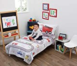 Everything Kids Road Trip 4 Piece Toddler Bed Set - Quilt, Fitted Bottom Sheet, Flat Top Sheet, Standard Size Pillowcase, Grey, Red, Blue, Yellow