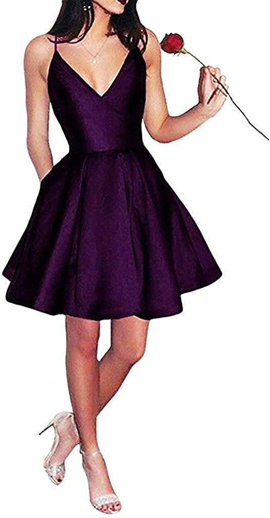 V-Neck Short Homecoming Dresses Spaghetti Straps Ball Prom Party Gown with Pocket