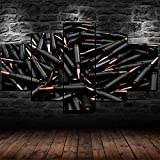GSDFSD Cuadros Decoracion Salon Modernos 5 Piezas Rifle de munición de Balas Negras Lienzo Grandes XXL murales,Pared Cuadros Decorativos Modulares para Sala de Estar Impresiones 80' W x 40' H