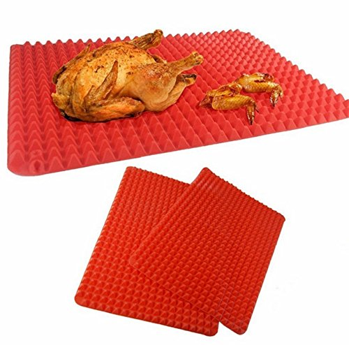 Magiböes rood piramide siliconen pad siliconen grill magnetron grill kippentafel silicone grillmat, 2 stuks
