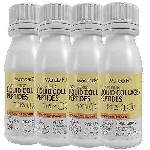 WonderFit Hydrolyzed Liquid Collagen Peptide Shot, Variety Pack, 15g...