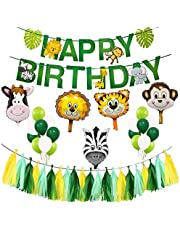 Happy Birthday Party Decoration Supplies,Animal Jungle Theme Safari Party Banner Kit for Kids Birthday Decor Festival Party