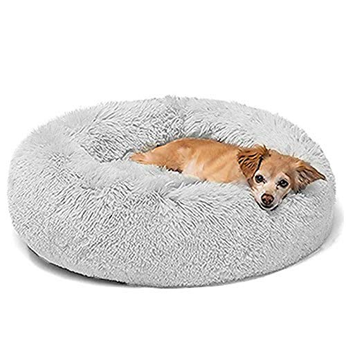 Luxuriöses Flauschiges Haustierbett,Hundebetten für mittelgroße und groß Hunde,rundes Kuschelbett mit weichem Kissen,Haustier Matte Schlafplatz Hundesofa,Waschbar