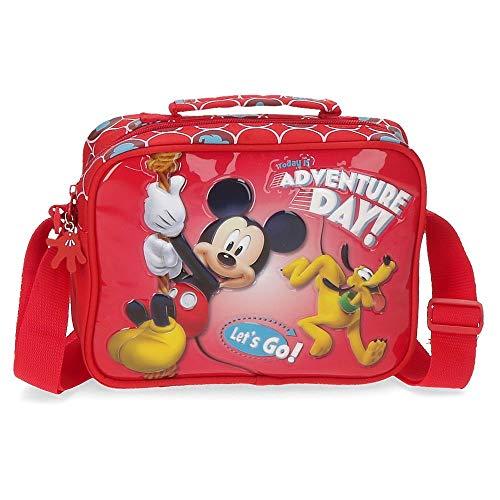 Disney Mickey Adventure Day Neceser Adaptable con Bandolera Rojo 22x17x7 cms Poliéster
